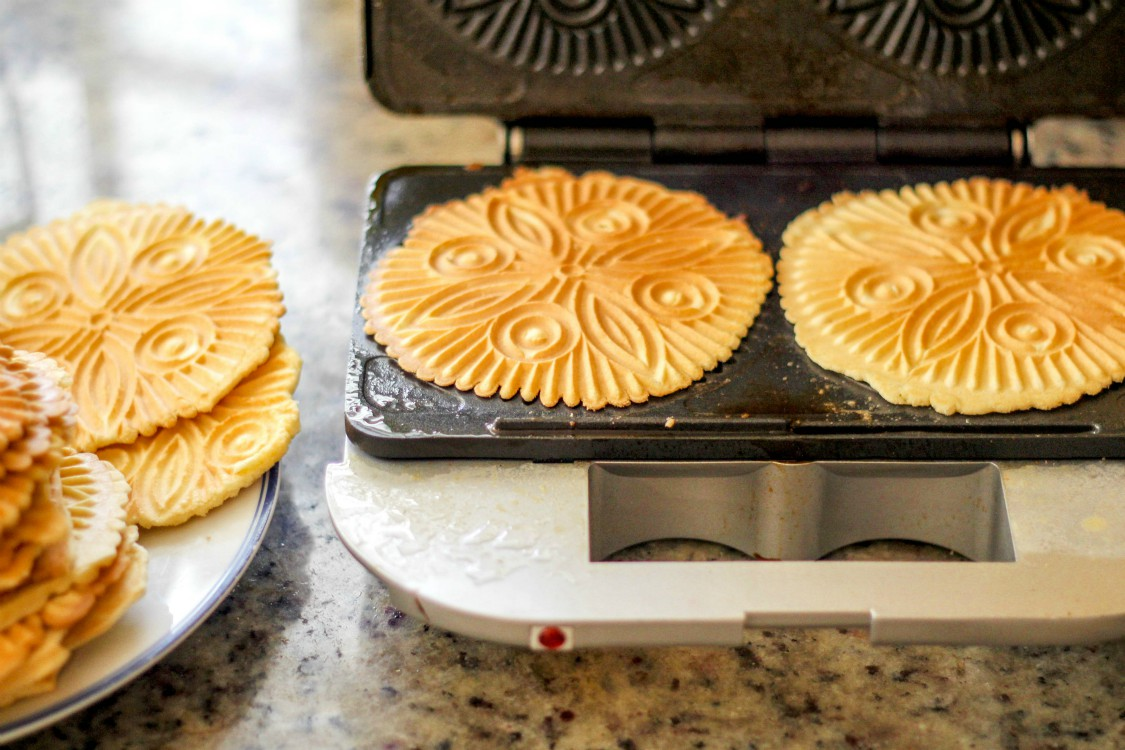 overhead image of making classic Italian pizzelle