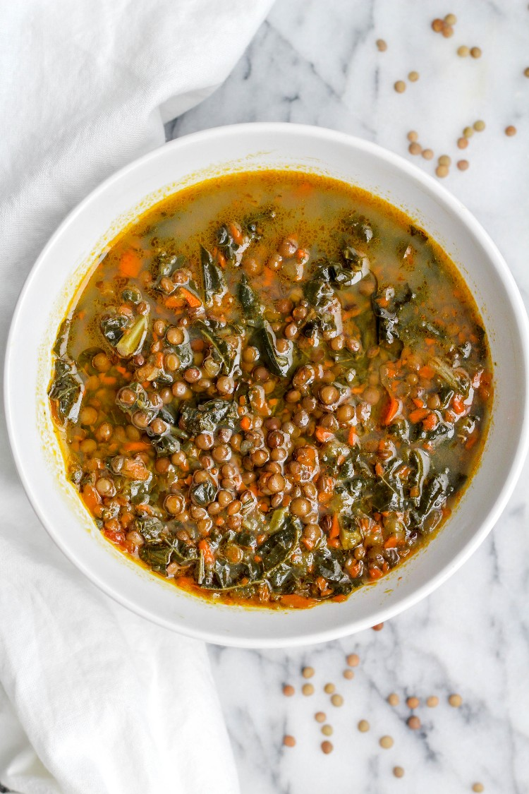 overhead image of Italian lentil soup