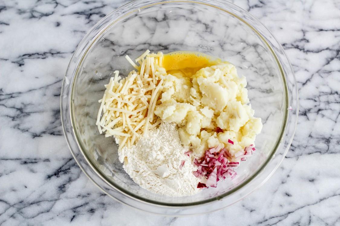image of making cheesy leftover potato pancakes