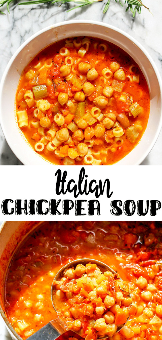 image of pasta and chickpea soup