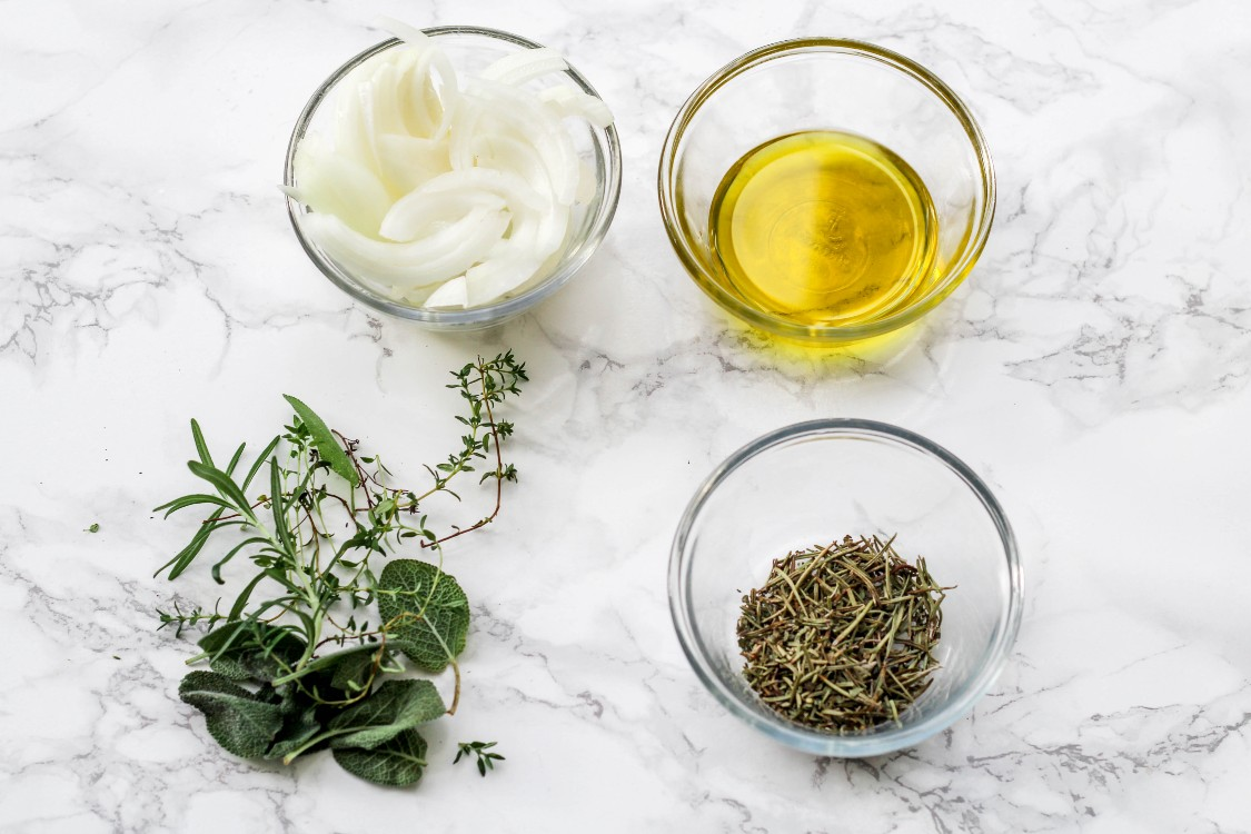 image of making fresh herbs with oil
