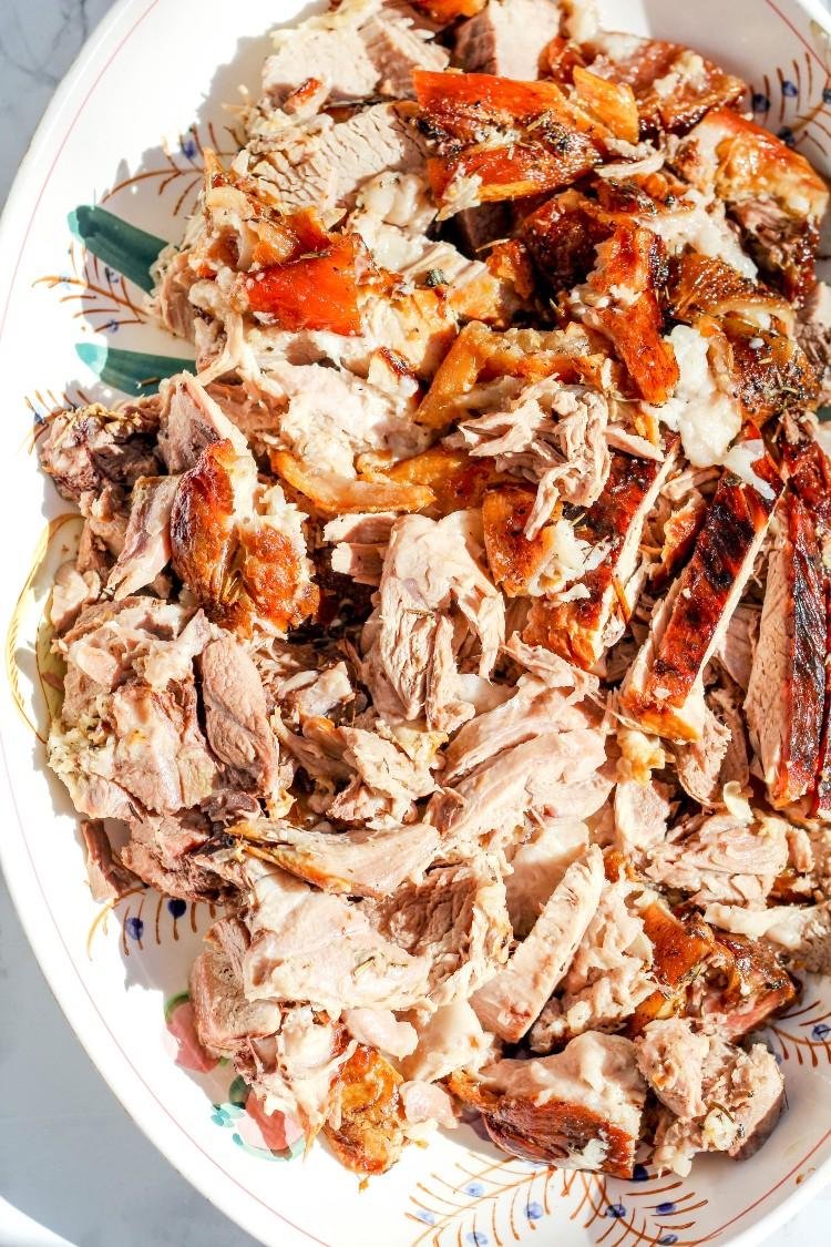 overhead image of slow roasted pork shoulder