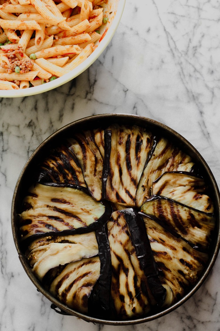 image of making an eggplant timballo