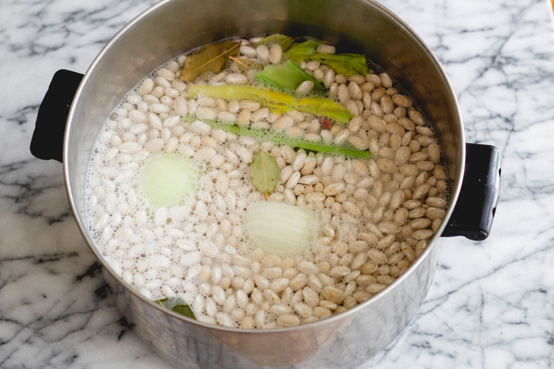 image of beans in a soup pot